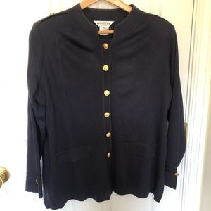 Exclusively Misook Buttoned Knit Blazer